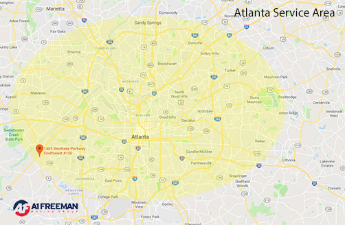 A-1 Freeman Atlanta Moving Service Area Map