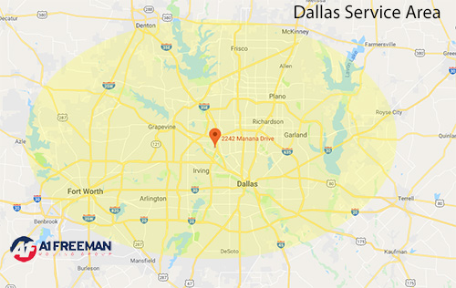 A-1 Freeman Dallas Moving Service Area Map