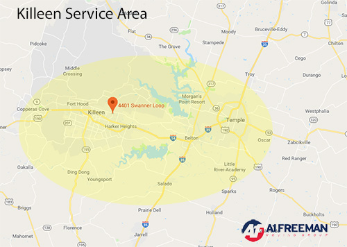 A-1 Freeman Killeen Moving Service Area Map