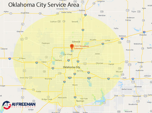 A 1 Freeman Oklahoma City Moving Service Area Map