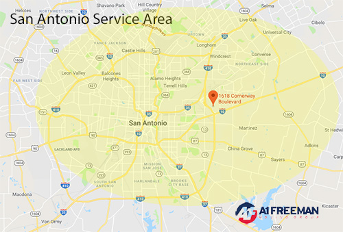 A-1 Freeman San Antonio Moving Service Area Map