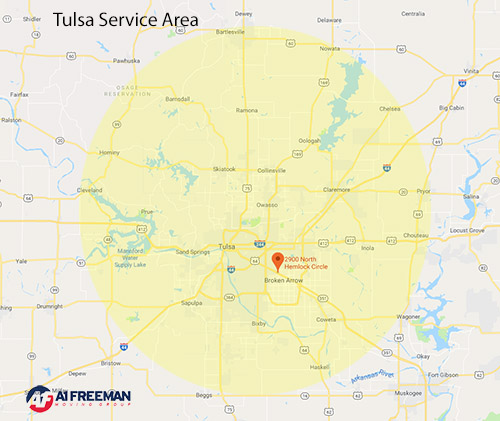 A-1 Freeman Tulsa Moving Service Area Map