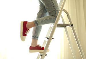 Step ladder-moving supplies